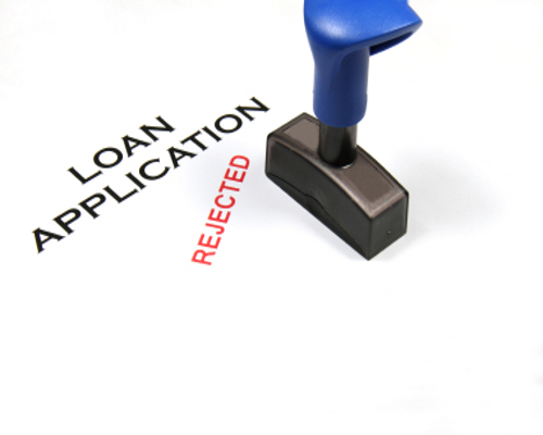Image of a loan application document that has been rejected.
