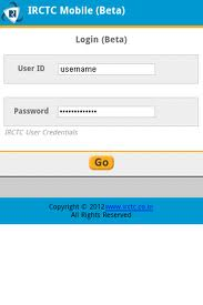 IRCTC Mobile Ticketing login